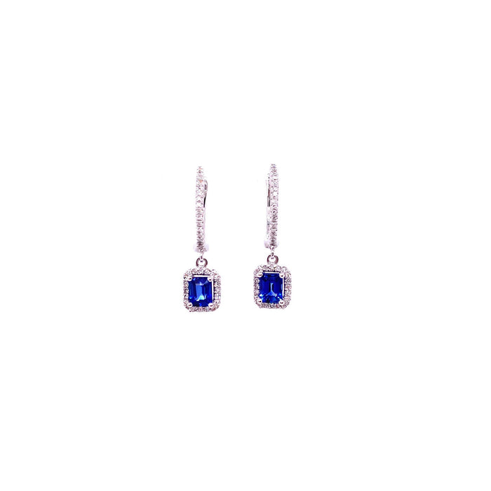 Meira T 14kt White Gold Emerald Cut Sapphire Halo Huggy Earrings