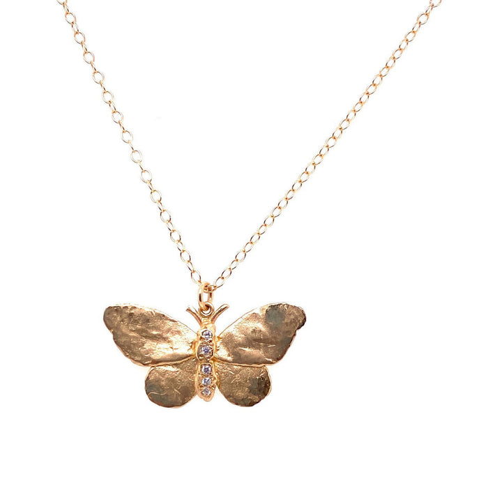 Victoria Cunningham 14kt Yellow Gold Diamond Butterfly Necklace