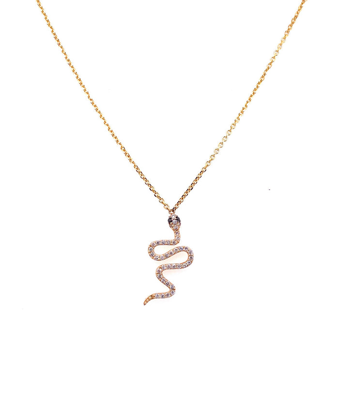 14kt Yellow Gold Diamond + Sapphire Snake Necklace