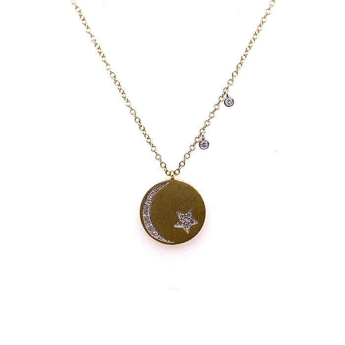 Meira T 14kt Yellow Gold Moon + Star Diamond Disc Charm Necklace