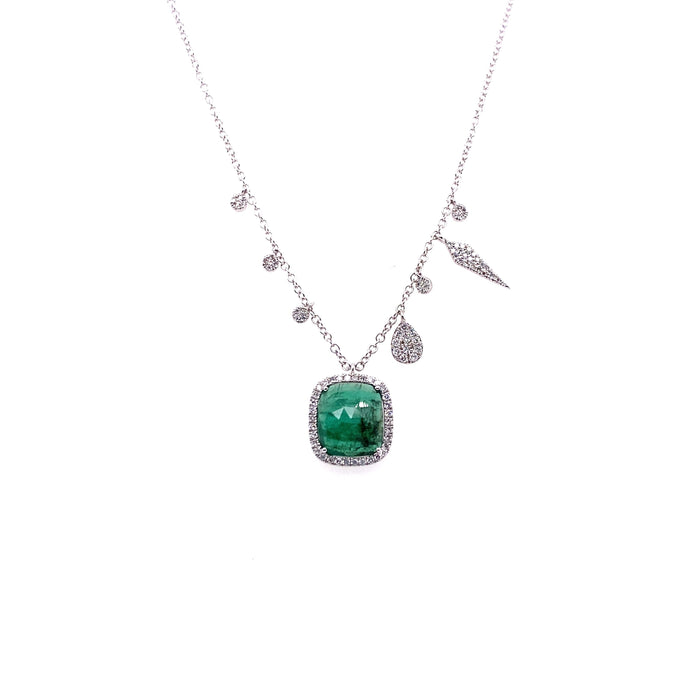 Meira T 14kt Square Emerald + Diamond Charm Necklace