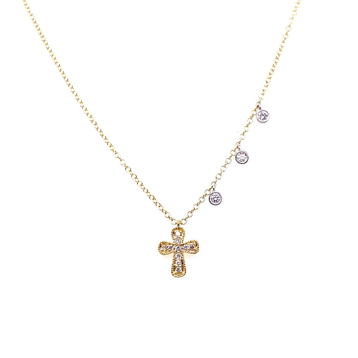 Meira T 14kt Yellow Small Milgrain Diamond Cross Charm Necklace