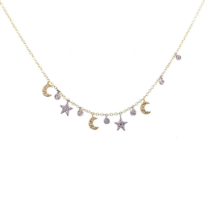 Meira T 14kt Yellow Gold Diamond Moon + Star Fringe Charm Necklace