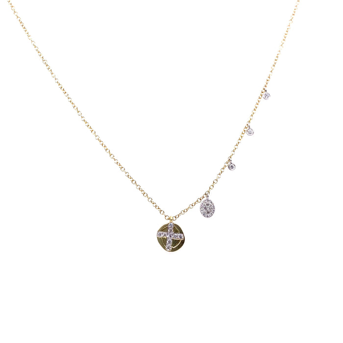 Meira T 14kt Yellow Gold Round Diamond Cross Disc Charm Necklace
