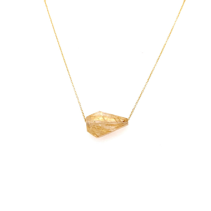 Margaret Solow 14kt Yellow Gold Rutilated Quartz Gemstone Necklace