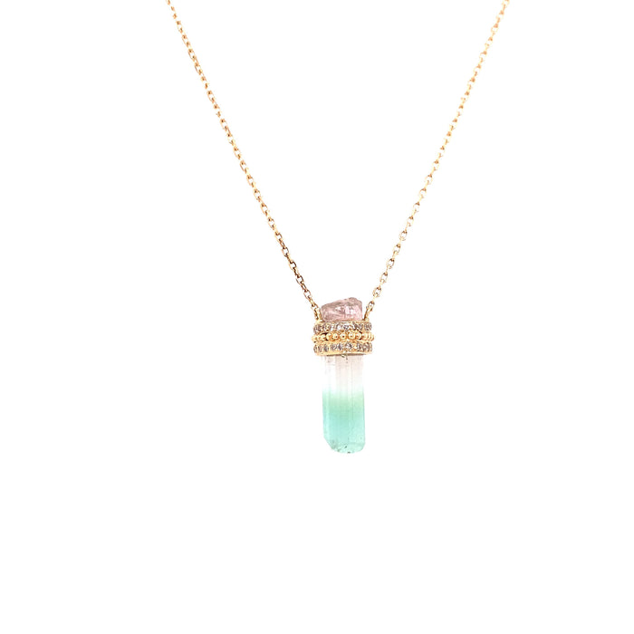 Celine Daoust 14kt Yellow Gold Watermelon Tourmaline + Diamond Pencil Necklace