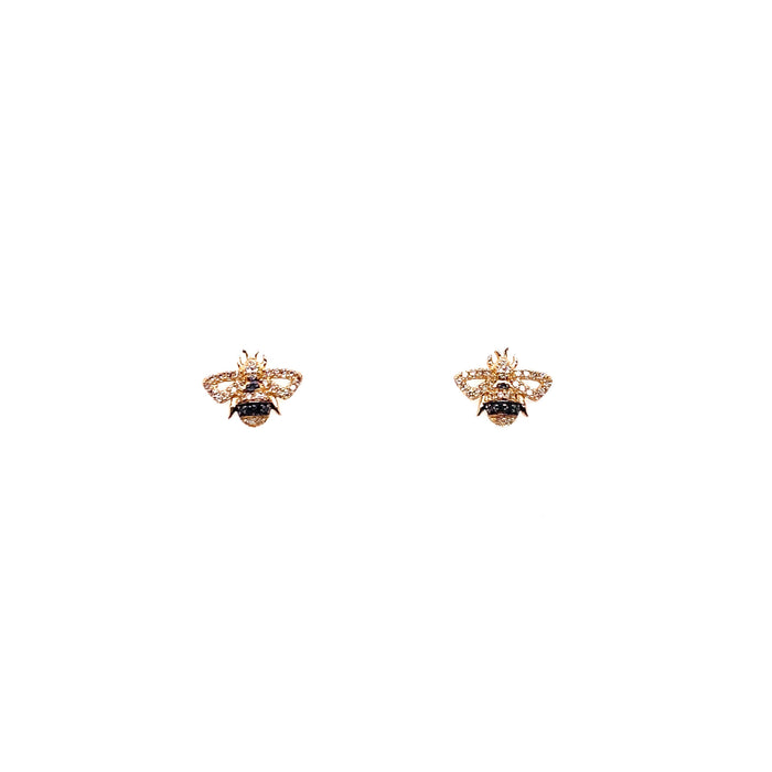 14kt Yellow Gold Black and White Diamond Bee Stud Earrings