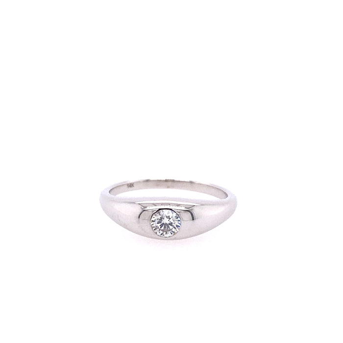 14kt White Gold Round Diamond Dome Ring