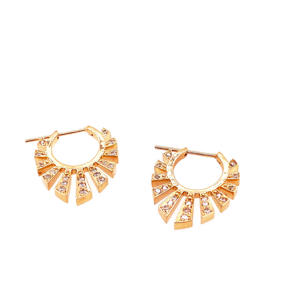 Celine Daoust 14kt Yellow Gold Rising Sun Beam Diamond Hoops