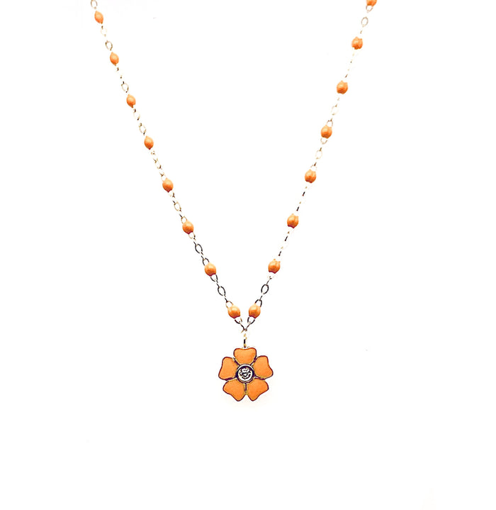 Gigi Clozeau 18kt Classic Flower Diamond Resin Necklace
