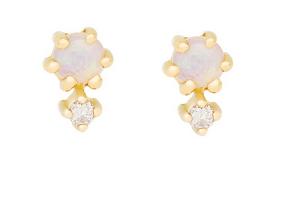 Hortense 14kt Petite Cherie Duo Opal Diamond Stud Earrings