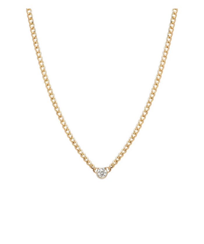 Zoë Chicco 14kt Yellow Gold Extra Small Curb Chain Diamond Bezel Necklace