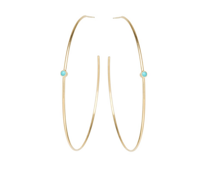 Zoë Chicco 14kt Bezel Turquoise Medium Hoop Earrings