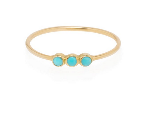 Zoë Chicco 14kt 3 Bezel Turquoise Stackable Ring