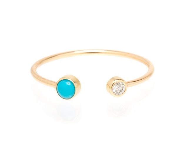 Zoë Chicco 14K Turquoise Diamond Bezel Open Ring
