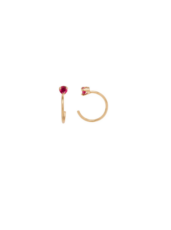 Zoë Chicco 14kt Ruby Prong Open Hoop Earrings