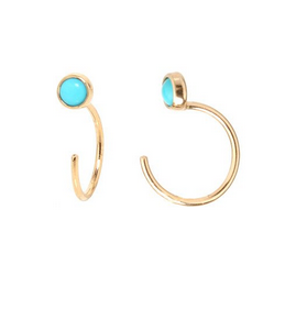 Zoë Chicco 14kt Bezel Turquoise Hoop Earrings