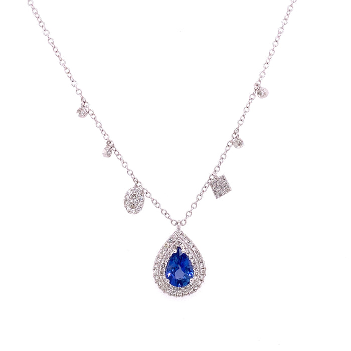 Meira T 14kt White Gold Sapphire Asymmetrical Diamond Charm Necklace