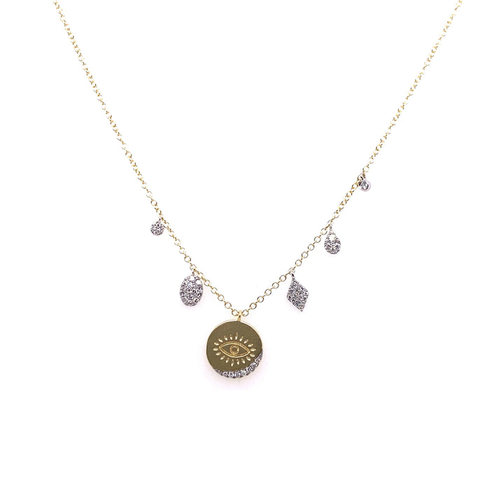 Meira T 14kt Diamond Eye Disc Charm Necklace
