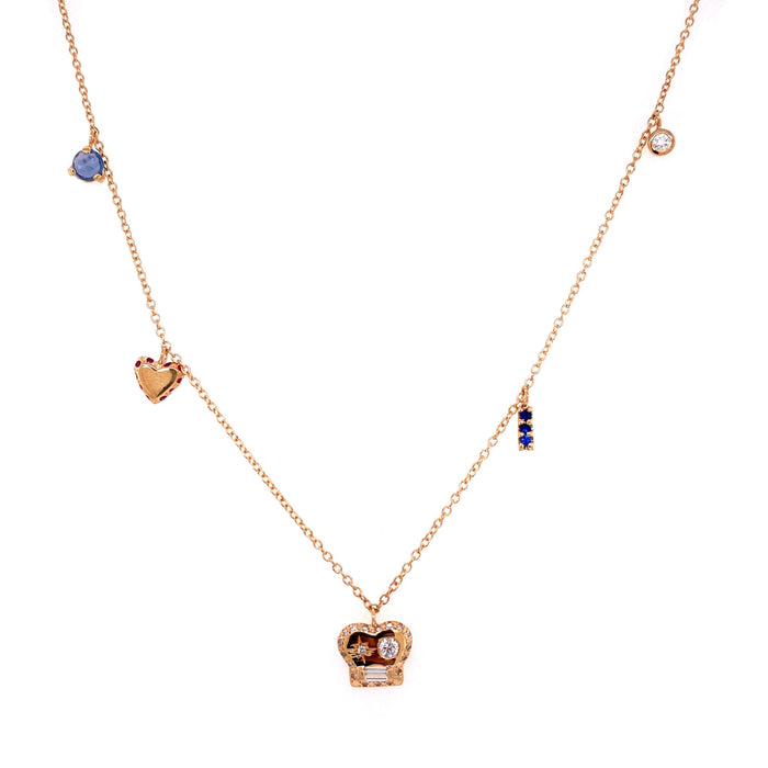 Scosha 14kt Yellow gold Brian Mixed Diamond Charm Necklace