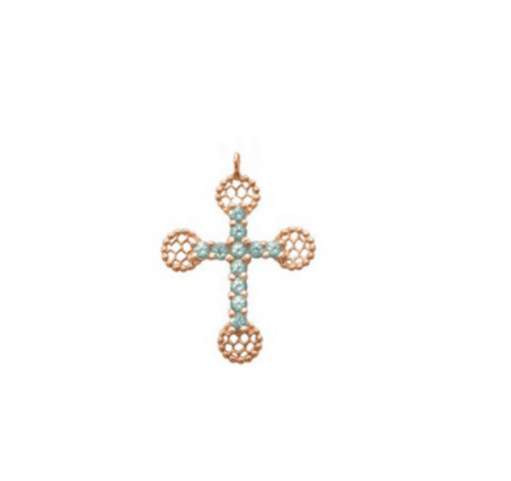 Gigi Clozeau 18kt Large Gemstone Lace Cross Pendant