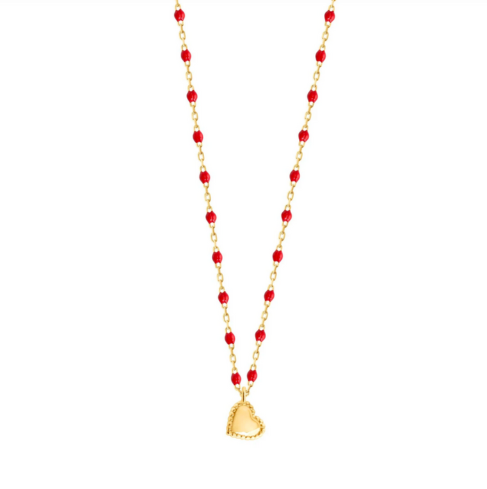 Gigi Clozeau 18kt Yellow Gold Mini Lucky Heart Resin Necklace
