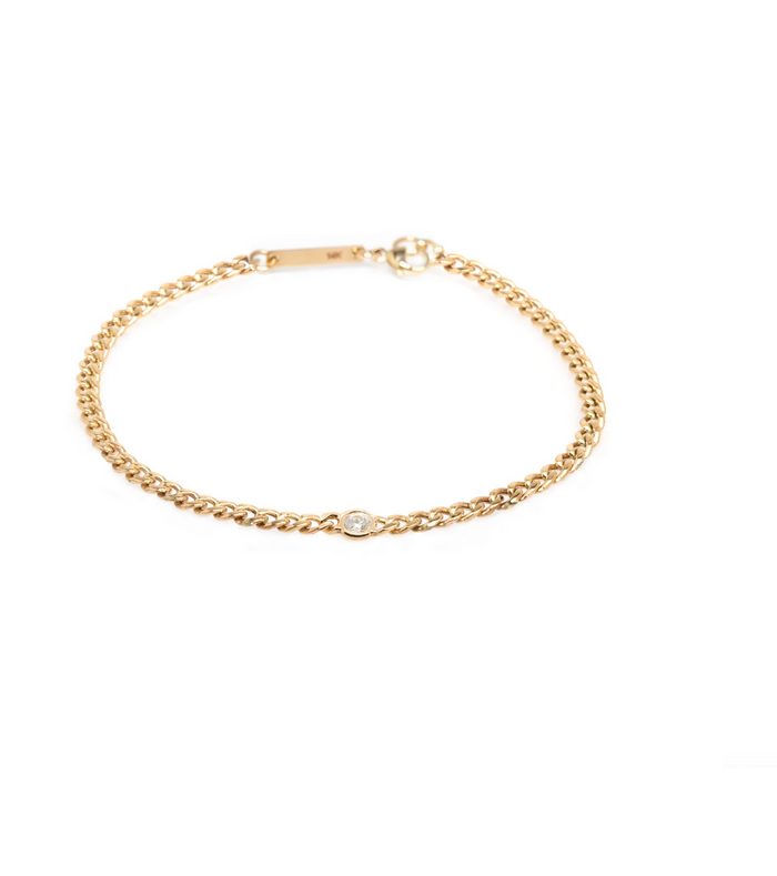Zoë Chicco 14kt Yellow Gold Curb Chain Diamond Bezel Bracelet