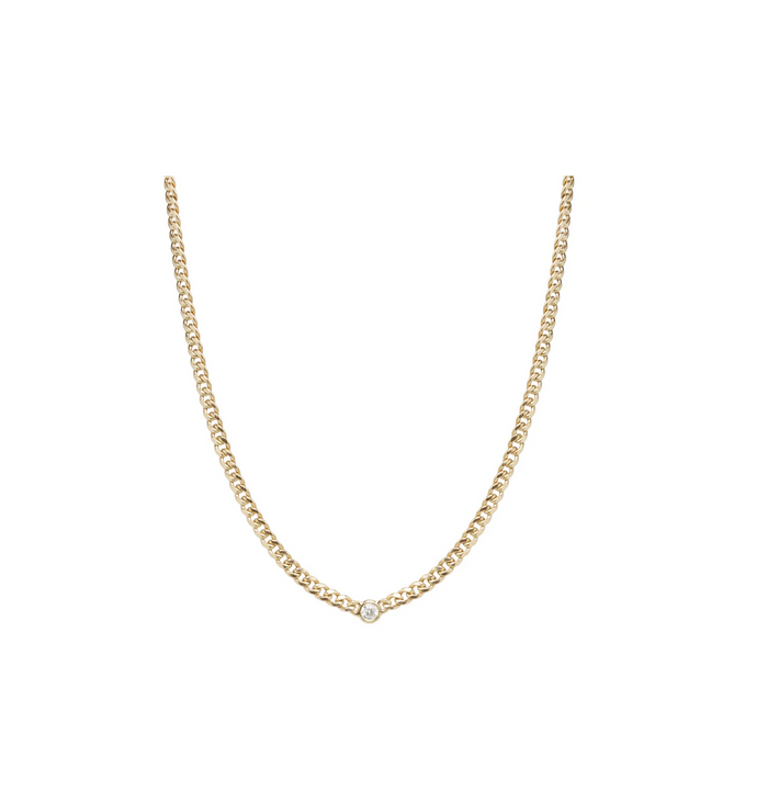 Zoë Chicco 14kt Yellow Gold Small Curb Chain Diamond Bezel Necklace