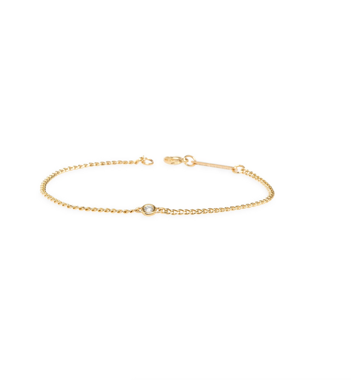 Zoë Chicco 14kt Yellow Gold Extra Small Curb Chain Diamond Bezel Bracelet