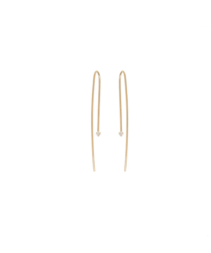 Zoë Chicco 14kt Yellow Gold Small Prong Set Diamond Wire Earrings