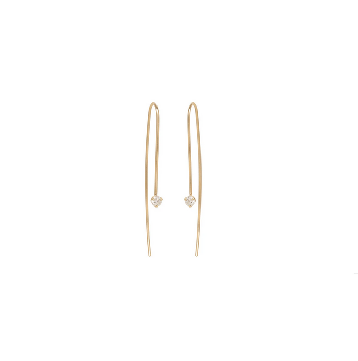 Zoë Chicco 14kt Yellow Gold Prong Set Diamond Wire Earrings