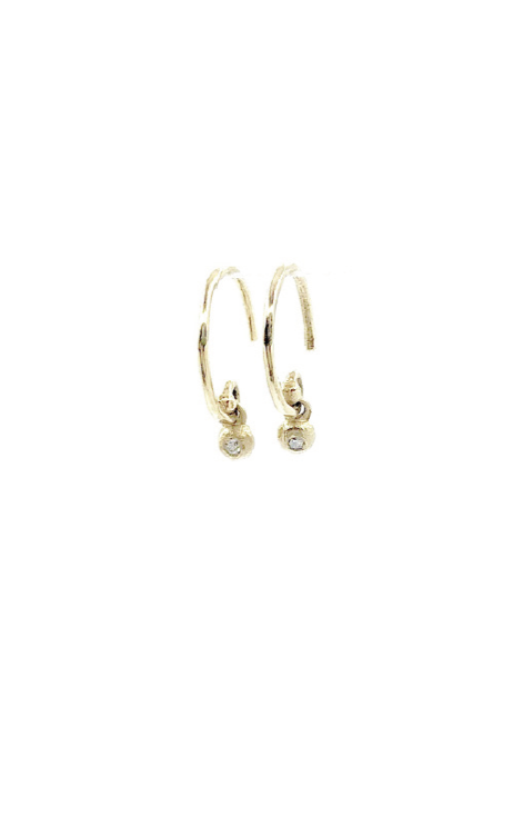 Victoria Cunningham 14kt Yellow Gold Diamond Dot Charm Hoops