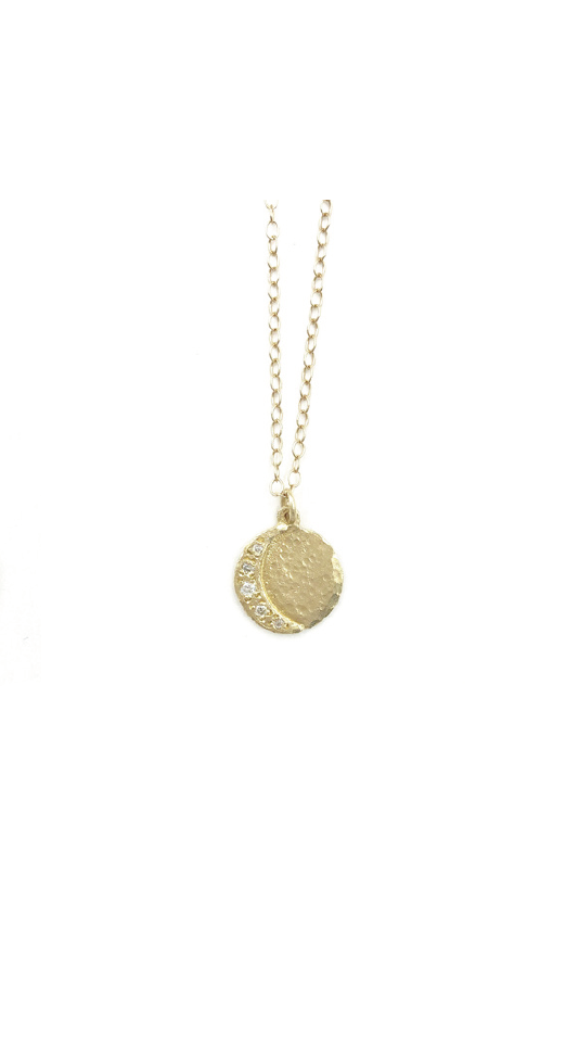 Victoria Cunningham 14kt Yellow Gold Diamond Crescent Moon Disc Necklace