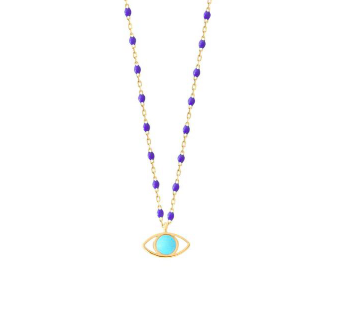 Gigi Clozeau 18kt Mini Bleuet Resin Eye Charm Necklace