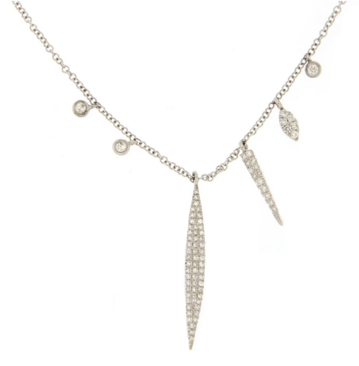 Meira T 14kt White Gold Diamond Dagger Charm Necklace
