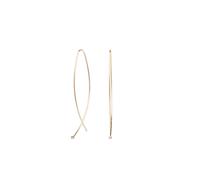 Zoë Chicco 14kt Yellow Gold XL Bezel Set Diamond Wire Earrings
