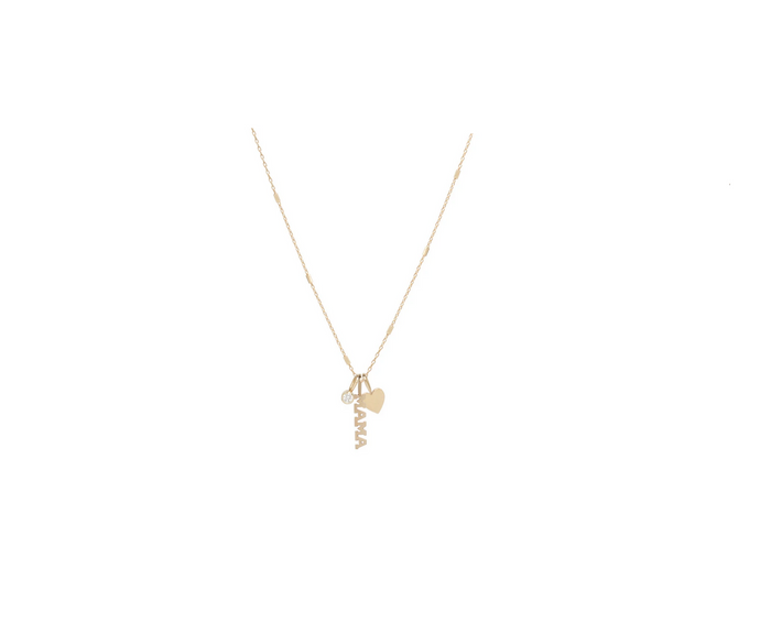 Zoë Chicco 14kt Yellow Gold MAMA Charm Necklace