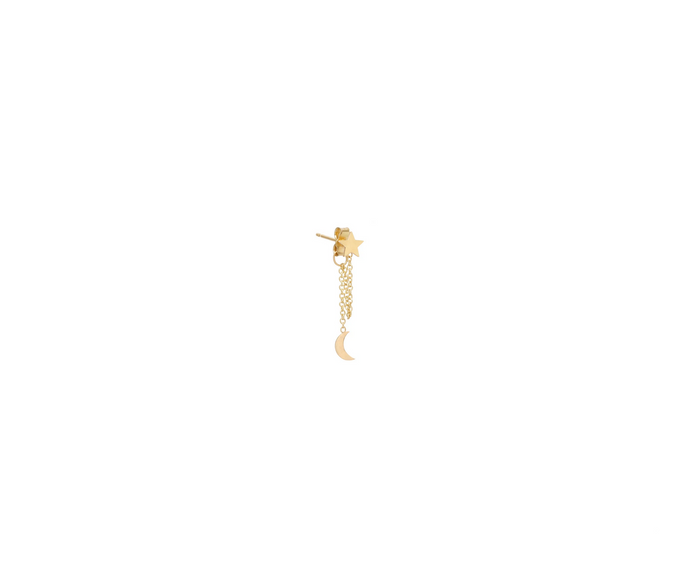 Zoë Chicco 14kt Yellow Gold Itty Bitty Moon + Star Chain Stud Earrings