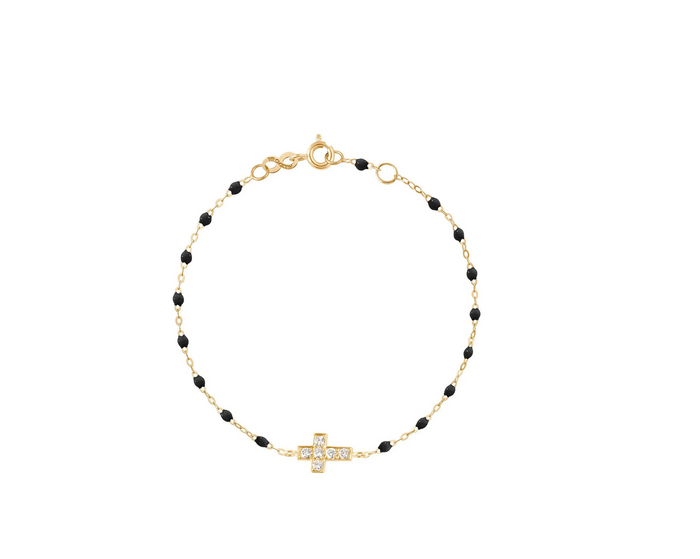 Gigi Clozeau 18kt Gold Classic Diamond Cross Bracelet