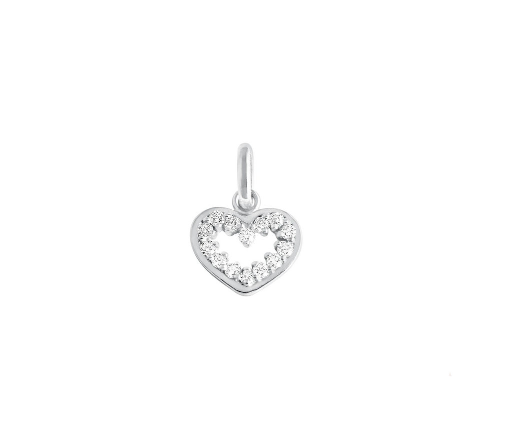 Gigi Clozeau 18kt Open Heart Supreme Diamond Charm