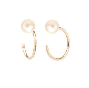 Zoë Chicco 14kt Fresh Water Pearl Tiny Huggy Hoop Earrings