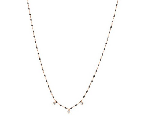 Gigi Clozeau 18K Mini Triple Diamond Resin Necklace