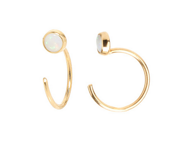 Zoë Chicco 14kt Tiny Opal Bezel Hoop Earrings
