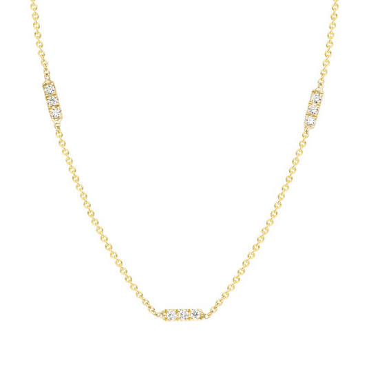 Hortense 14K Diamond Tic Tac Trio Necklace