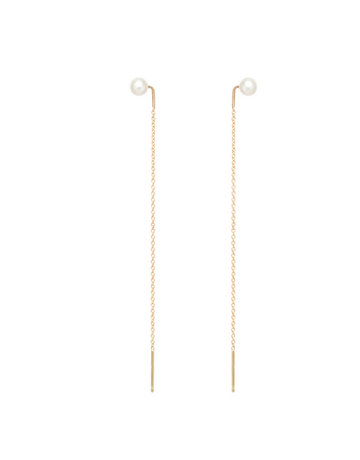 Zoë Chicco 14kt Pearl Stud Threader Earrings