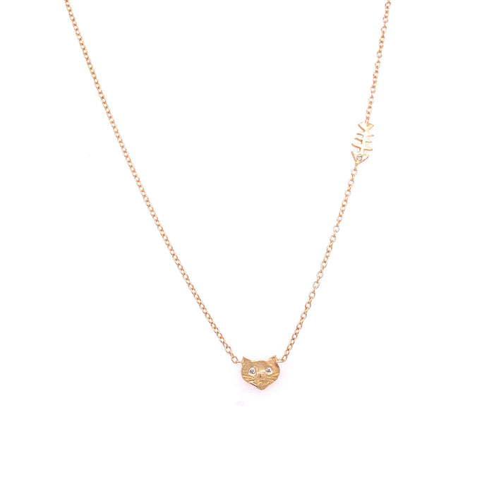 Victoria Cunningham 14kt Yellow Gold Diamond Cat Necklace