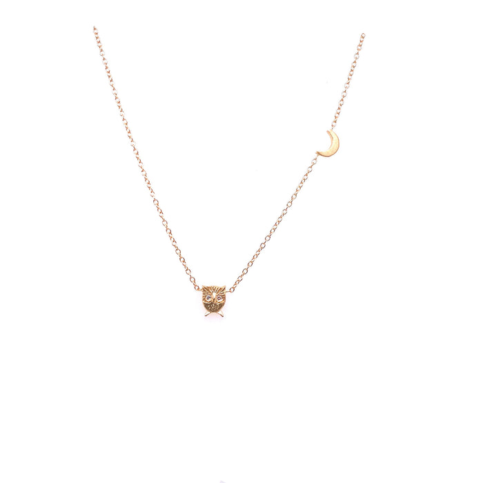 Victoria Cunningham 14kt Yellow Gold Diamond Owl Necklace