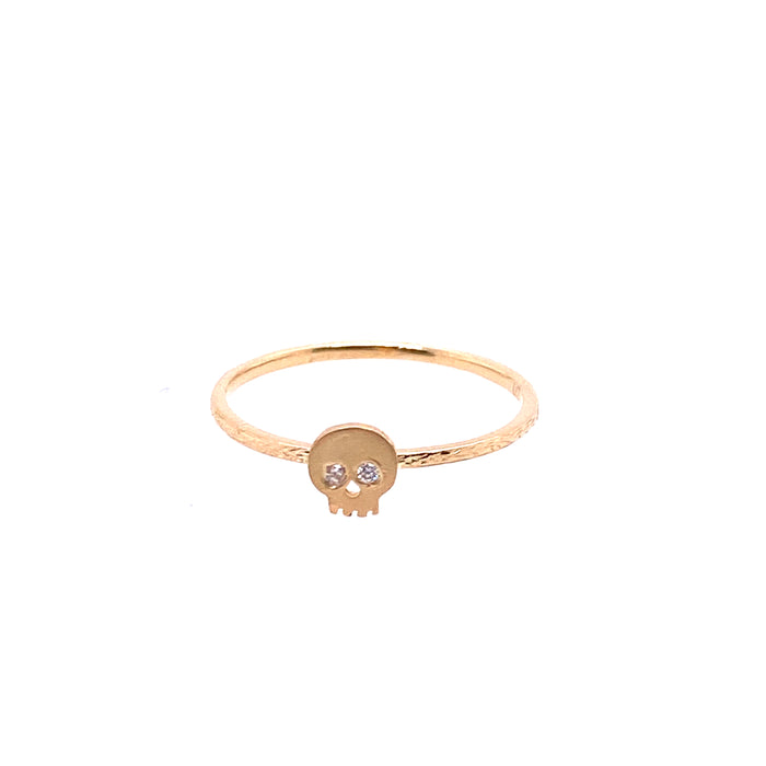 Victoria Cunningham 14kt Yellow Gold Diamond Skull Ring