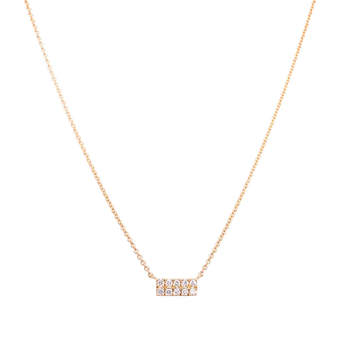14kt Yellow Gold Tiny Double Diamond Bar Necklace