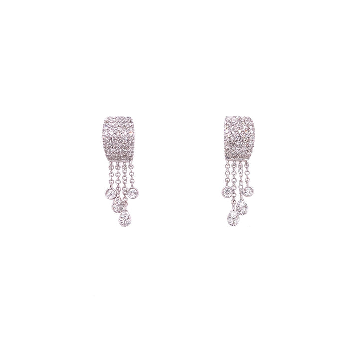 Meira T 14kt White Gold Pave Diamond + Chain Dangle Earrings
